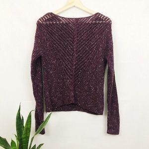 Bar III wool blend speckled plum sweater S